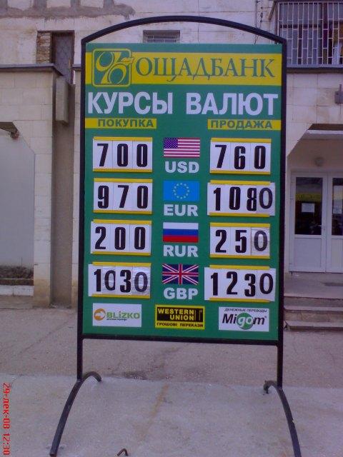 Курс обмена валют на 29 декабря 08
